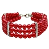 Mirage Pet Products Three Row Pearl Necklace Red Sm (8-10)