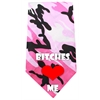 Mirage Pet Products Bitches Love Me Screen Print Bandana Pink Camo