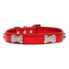 Mirage Pet Products Metallic Crystal Bone Collars Red Small