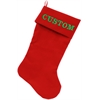 Mirage Pet Products Custom Embroidered Velvet 18 inch Made in the USA Christmas Stocking Red