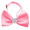Mirage Pet Products Clear Crystal Heart Bubblegum Pink Bow Tie