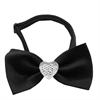 Mirage Pet Products Clear Crystal Heart Black Bow Tie