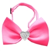 Mirage Pet Products Clear Crystal Heart Hot Pink Bow Tie
