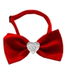 Mirage Pet Products Clear Crystal Heart Red Bow Tie