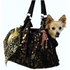 Mirage Pet Products Black with Animal Foil RunAround Pet Carrier Tote