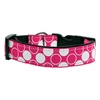 Mirage Pet Products Diagonal Dots Nylon Collar  Bright Pink Medium