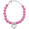 Mirage Pet Products Heart and Pearl Necklace Bright Pink Lg (10-12)