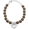 Mirage Pet Products Heart and Pearl Necklace Chocolate Md (8-10)