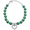 Mirage Pet Products Heart and Pearl Necklace Emerald Green Md (8-10)