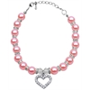 Mirage Pet Products Heart and Pearl Necklace Rose Lg (10-12)