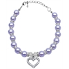 Mirage Pet Products Heart and Pearl Necklace Lavender Lg (10-12)