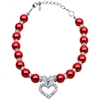 Mirage Pet Products Heart and Pearl Necklace Red Sm (6-8)
