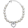 Mirage Pet Products Heart and Pearl Necklace White Md (8-10)
