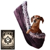Mirage Pet Products Fleur De Lis Rhinestone Puppy Holdem Sling Eggplant Velour w/ Purple Leo trim Size Lg/XL