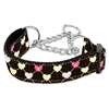 Mirage Pet Products Argyle Hearts Nylon Ribbon Collar Martingale Brown Large