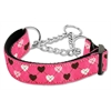 Mirage Pet Products Argyle Hearts Nylon Ribbon Collar Martingale Bright Pink Medium
