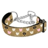 Mirage Pet Products Argyle Hearts Nylon Ribbon Collar Martingale Tan Medium