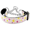 Mirage Pet Products Butterfly Nylon Ribbon Collar Martingale White Medium