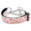 Mirage Pet Products Cherries Nylon Collar Martingale White Medium
