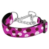 Mirage Pet Products Confetti Dots Nylon Collar Martingale Fuchsia Medium