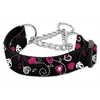 Mirage Pet Products Crazy Hearts Nylon Collars Martingale Black Medium