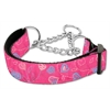 Mirage Pet Products Crazy Hearts Nylon Collars Martingale Bright Pink Large