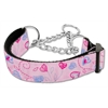 Mirage Pet Products Crazy Hearts Nylon Collars Martingale Light Pink Medium