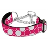 Mirage Pet Products Diagonal Dots Nylon Collar Martingale Bright Pink Medium
