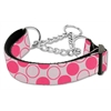 Mirage Pet Products Diagonal Dots Nylon Collar Martingale Light Pink Large