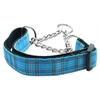 Mirage Pet Products Plaid Nylon Collar  Martingale Blue Medium