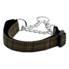 Mirage Pet Products Plaid Nylon Collar  Martingale Brown Large