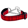Mirage Pet Products Plaid Nylon Collar  Martingale Red Large