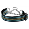 Mirage Pet Products Preppy Stripes Nylon Ribbon Collars Martingale Light Blue/Khaki Large