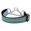 Mirage Pet Products Preppy Stripes Nylon Ribbon Collars Martingale Light Blue/White Large