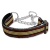 Mirage Pet Products Preppy Stripes Nylon Ribbon Collars Martingale Brown/Khaki Medium