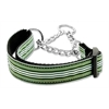 Mirage Pet Products Preppy Stripes Nylon Ribbon Collars Martingale Green/White Medium