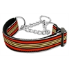 Mirage Pet Products Preppy Stripes Nylon Ribbon Collars Martingale Orange/Khaki Medium