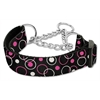 Mirage Pet Products Retro Nylon Ribbon Collar Martingale Black Medium