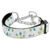 Mirage Pet Products Roses Nylon Ribbon Collar Martingale Large Blue