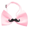 Mirage Pet Products Black Moustache Light Pink Bow Tie