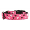 Mirage Pet Products Argyle Hearts Nylon Ribbon Collar Bright Pink Medium
