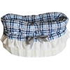 Mirage Pet Products Blue Plaid Reversible Snuggle Bugs Pet Bed, Bag, and Car Seat All-in-One