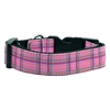 Mirage Pet Products Plaid Nylon Collar  Pink Medium