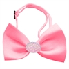 Mirage Pet Products Light Pink Crystal Oval Bubblegum Pink Bow Tie