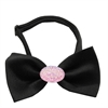 Mirage Pet Products Light Pink Crystal Oval Black Bow Tie