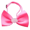 Mirage Pet Products Light Pink Crystal Oval Hot Pink Bow Tie
