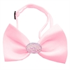 Mirage Pet Products Light Pink Crystal Oval Light Pink Bow Tie