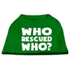 Mirage Pet Products Who Rescued Who Screen Print Shirt Green Lg (14)