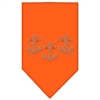 Mirage Pet Products Anchors Rhinestone Bandana Orange Small