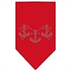 Mirage Pet Products Anchors Rhinestone Bandana Red Large